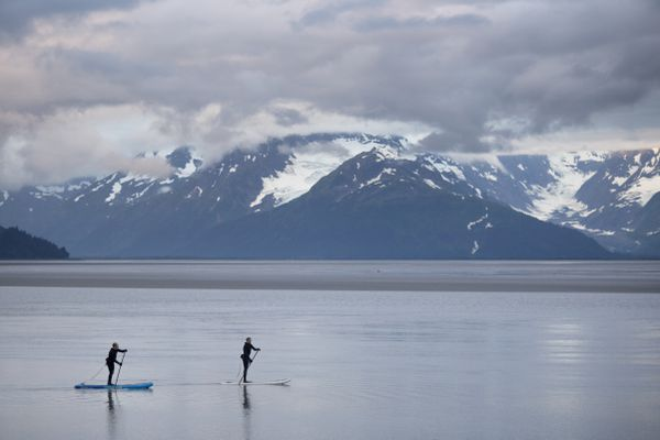 Paddle boarders position themselves for the Turnagain Arm bore tide on Monday, July 24, 2017, near Girdwood. (Rugile Kaladyte / Alaska Dispatch News)