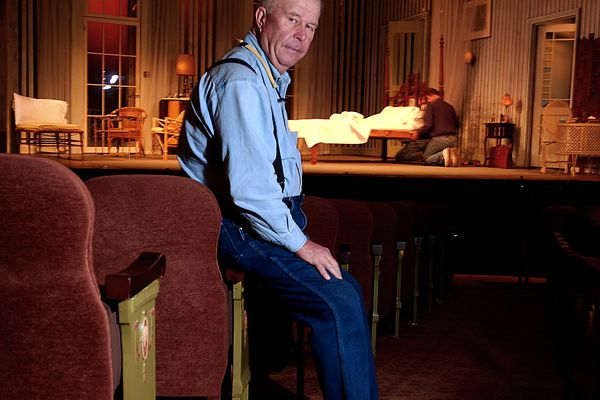FILE - In this Oct. 17, 2003, file photo, actor Ned Beatty poses at New York's Music Box Theatre where he plays the role of Big Daddy in a new production of Tennessee Williams'