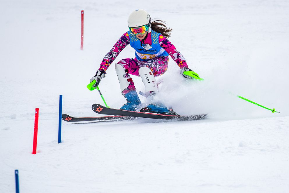 Sophie Neuberger fights to get her tips back on the snow en route to aslalom victory Monday at Alyeska. (Photo by Bob Eastaugh)