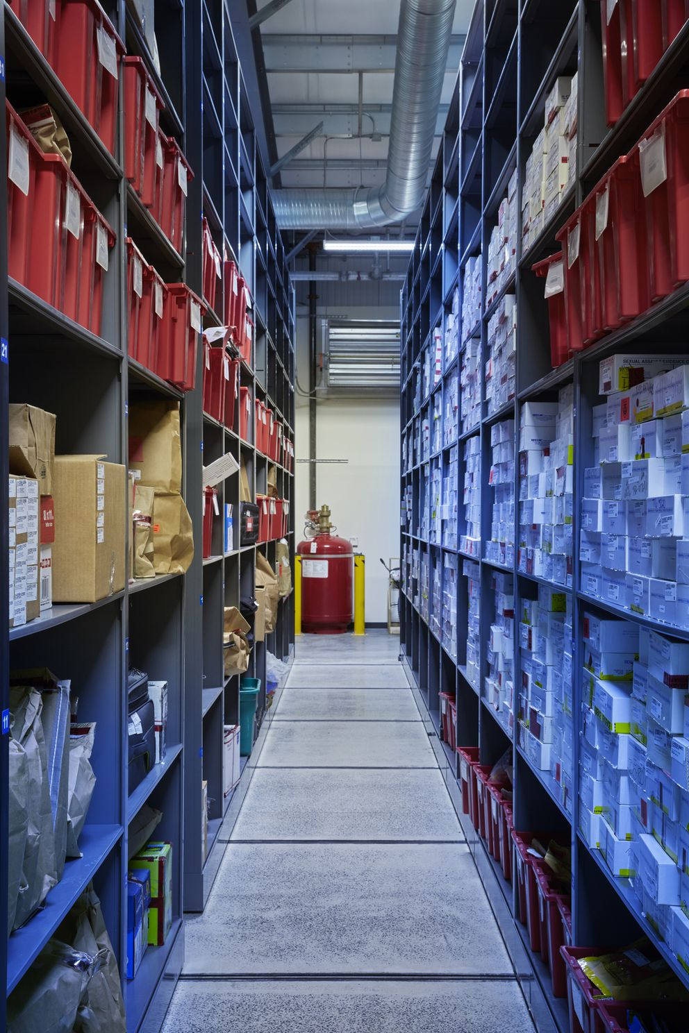 Boxes on the right containing rape kits in the evidence storage building at the Virginia Beach Police Department. (Photo for The Washington Post by Adam Ewing)