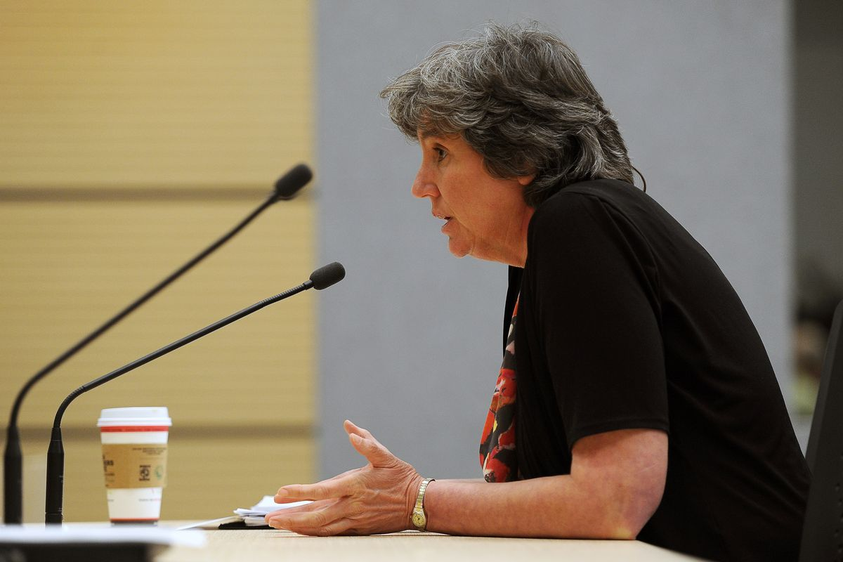 Pat Pitney fields questions at a 2015 House Finance Committee hearing. (Erik Hill / ADN archives)