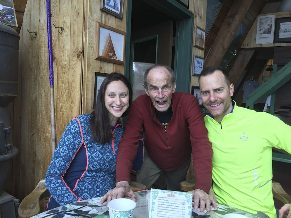 Kate Baldwin Matteson, Hap Wurlitzer and Myles Matteson participating in one of Hap's outrageous stories at the Hatcher Pass Lodge. (Photo courtesy of Ralph Baldwin)