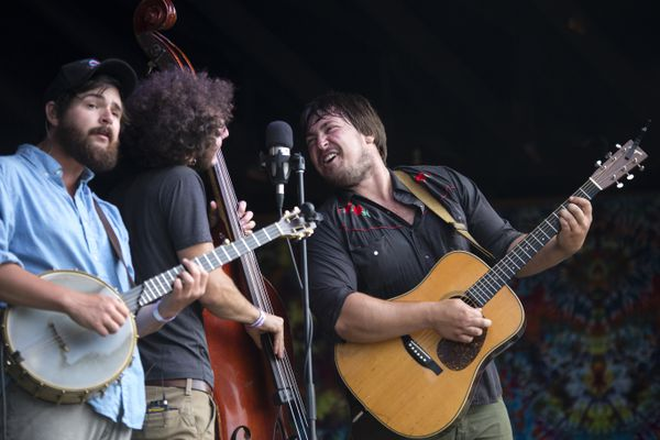 Horseshoes & Hand Grenades plays during Salmonfest Saturday, August 5, 2017, in Ninilchik. (Rugile Kaladyte / Alaska Dispatch News)