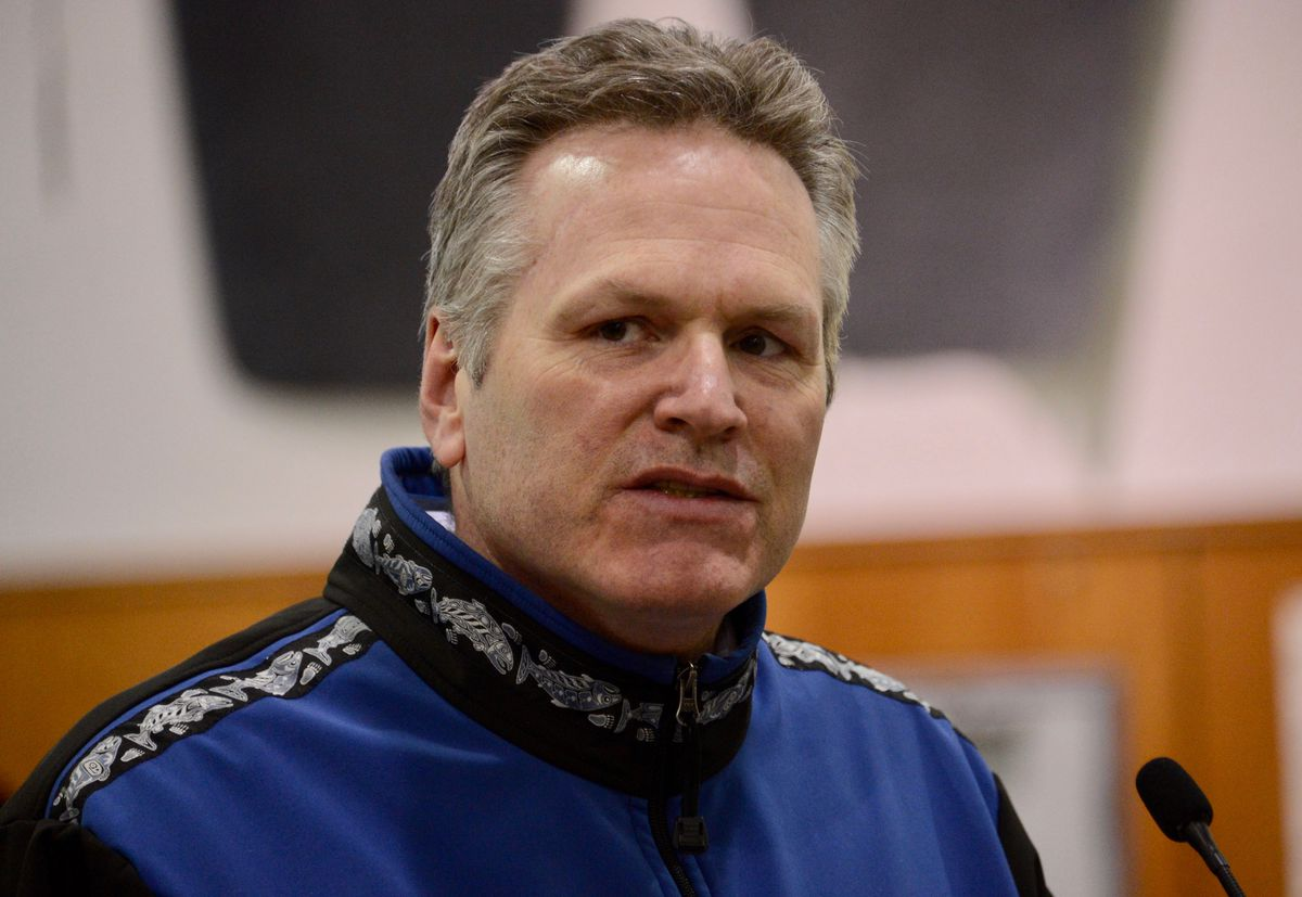 Gov. Mike Dunleavy at the Juneau International Airport on April 9, 2021. (James Brooks / ADN)