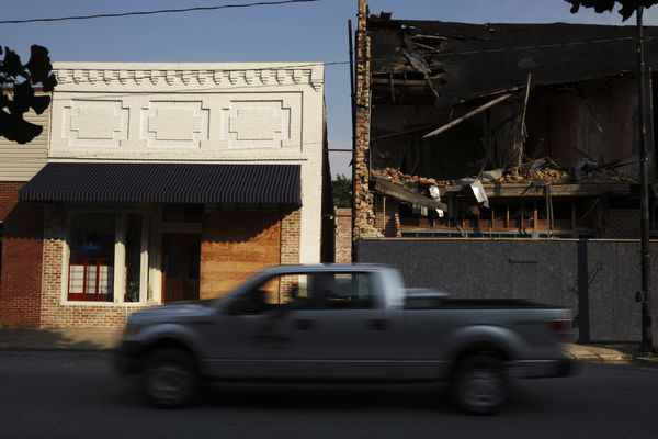 Empty storefronts in downtown Robersonville, N.C., June 17, 2018. North Carolina is one of 26 states where deaths now outnumber births among white people. The pattern first started more than a decade ago. But lagging fertility rates and rising white mortality rates have sped demographic change. (Travis Dove/The New York Times)