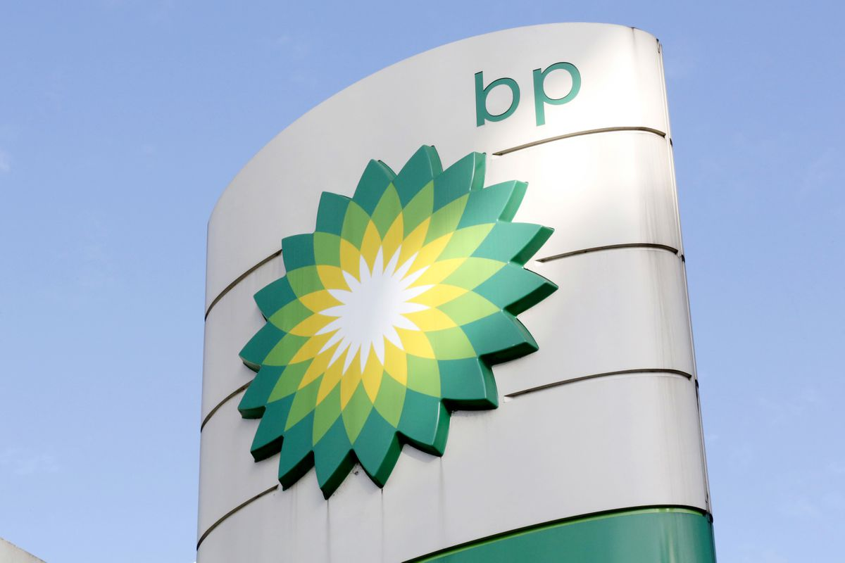 BP's company logo at a petrol station in London. (AP Photo/Caroline Spiezio)