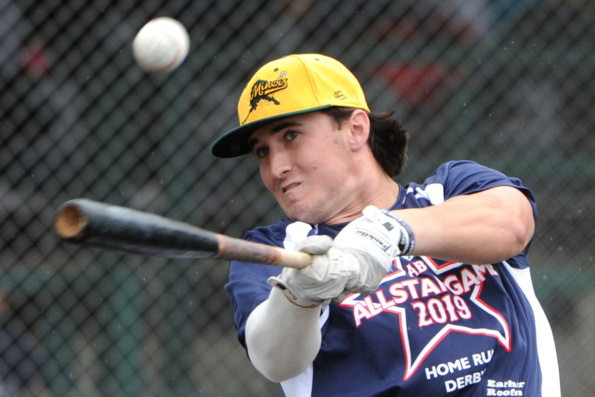 Justin Kirby of the Mat-Su Miners takes a big swing during Sunday's Alaska Baseball League Home Run Derby. (Bill Roth / ADN)