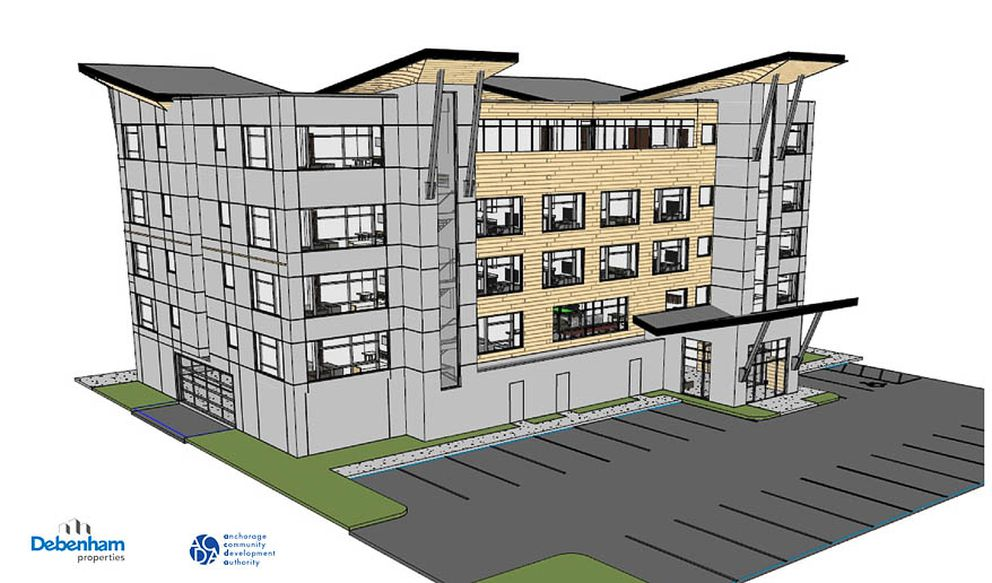 A rendering of the Block 96 Flats, a proposed 44-unit apartment building to be built at the corner of K Street and West Eighth Avenue in downtown Anchorage. (Courtesy Anchorage Community Development Authority)