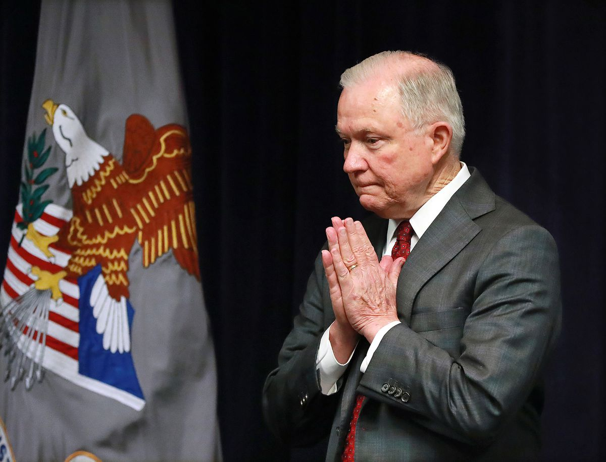 In an August 2018 file image, then Attorney General Jeff Sessions gathers his thoughts as he takes the podium for a news conference in Macon, Ga. (Curtis Compton/Atlanta Journal-Constitution/TNS)