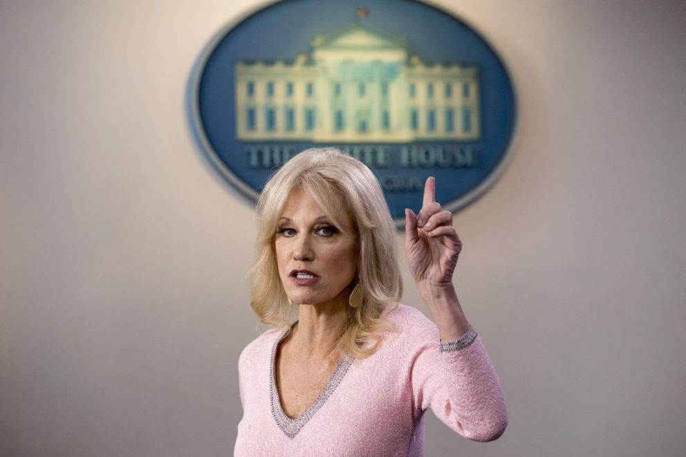 Kellyanne Conway speaks in the Briefing Room at the White House in Washington in 2019. (AP Photo/Andrew Harnik, File)