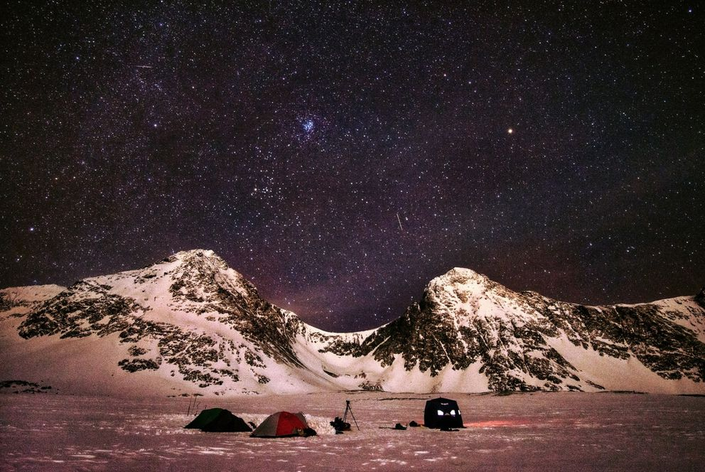 Stars fill the night sky above the base camp of a group of Anchorage freedivers who dived in Rabbit Lake on Sunday, Jan. 3, 2021. (Photo courtesy of Jordan Flesner)