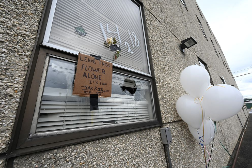 A memorial with flowers and balloons to honor Jaclyn Welcome, who was killed in a shooting early Saturday morning, were visible at the shooting scene on Sunday, June 20, 2021. Four other people were shot and taken to the hospital. (Bill Roth / ADN)