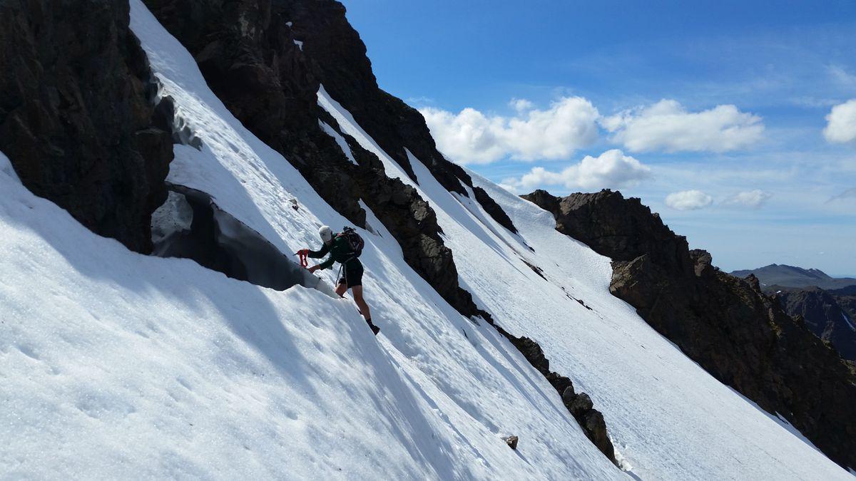 Harlow Robinson and Matias Saari encountered snow fields below Hidden Peak last week during the 22-hour trip through the Front Range of the Chugach Mountains. (Photo courtesy Harlow Robinson and Matias Saari)