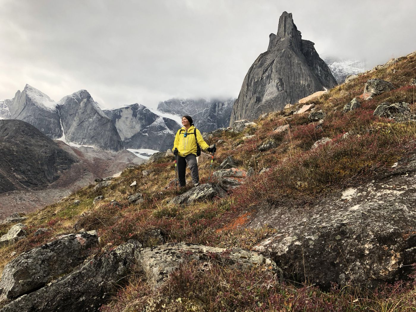 Vicky Ho admires the view of Arrigetch Valley while hiking in Gates of the Arctic National Park on Saturday, Sept. 1, 2018. (Jussi Ruottinen)