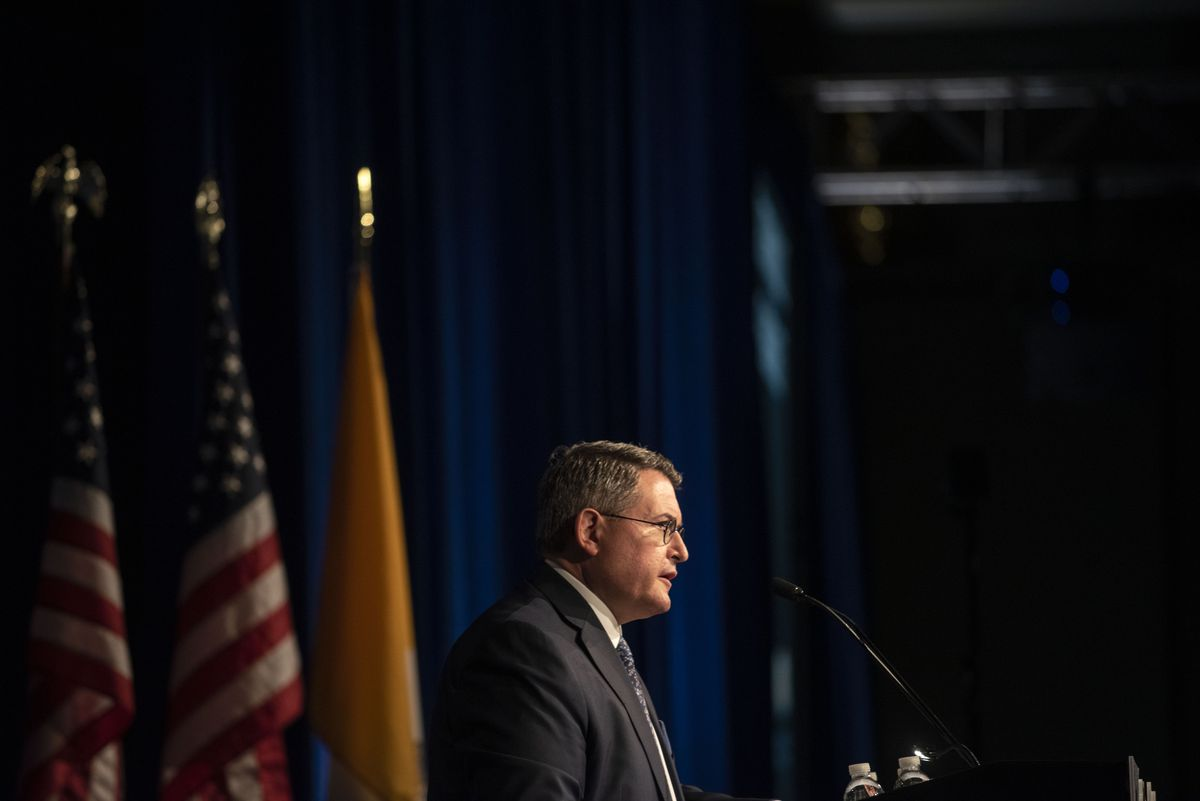 Leonard Leo speaks at the National Catholic Prayer Breakfast in April. (Washington Post photo by Michael Robinson Chavez)