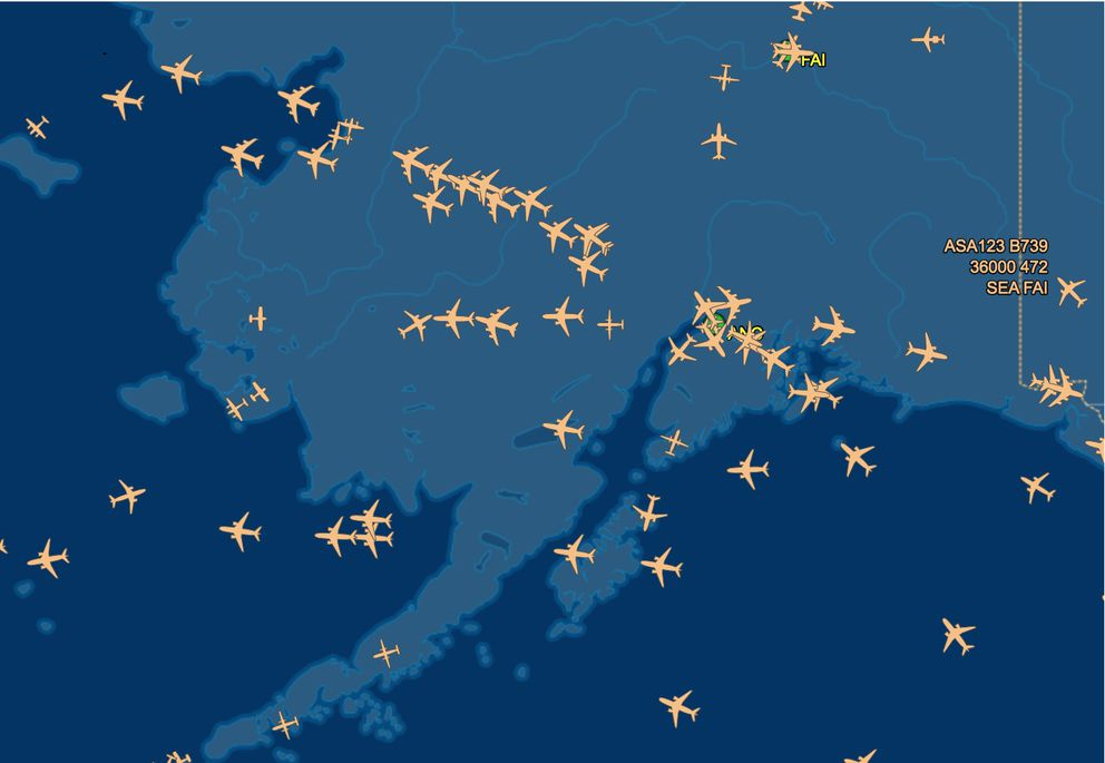 An image of aircraft traffic over Alaska at 3:40 p.m. Tuesday. (Courtesy flightaware.com)