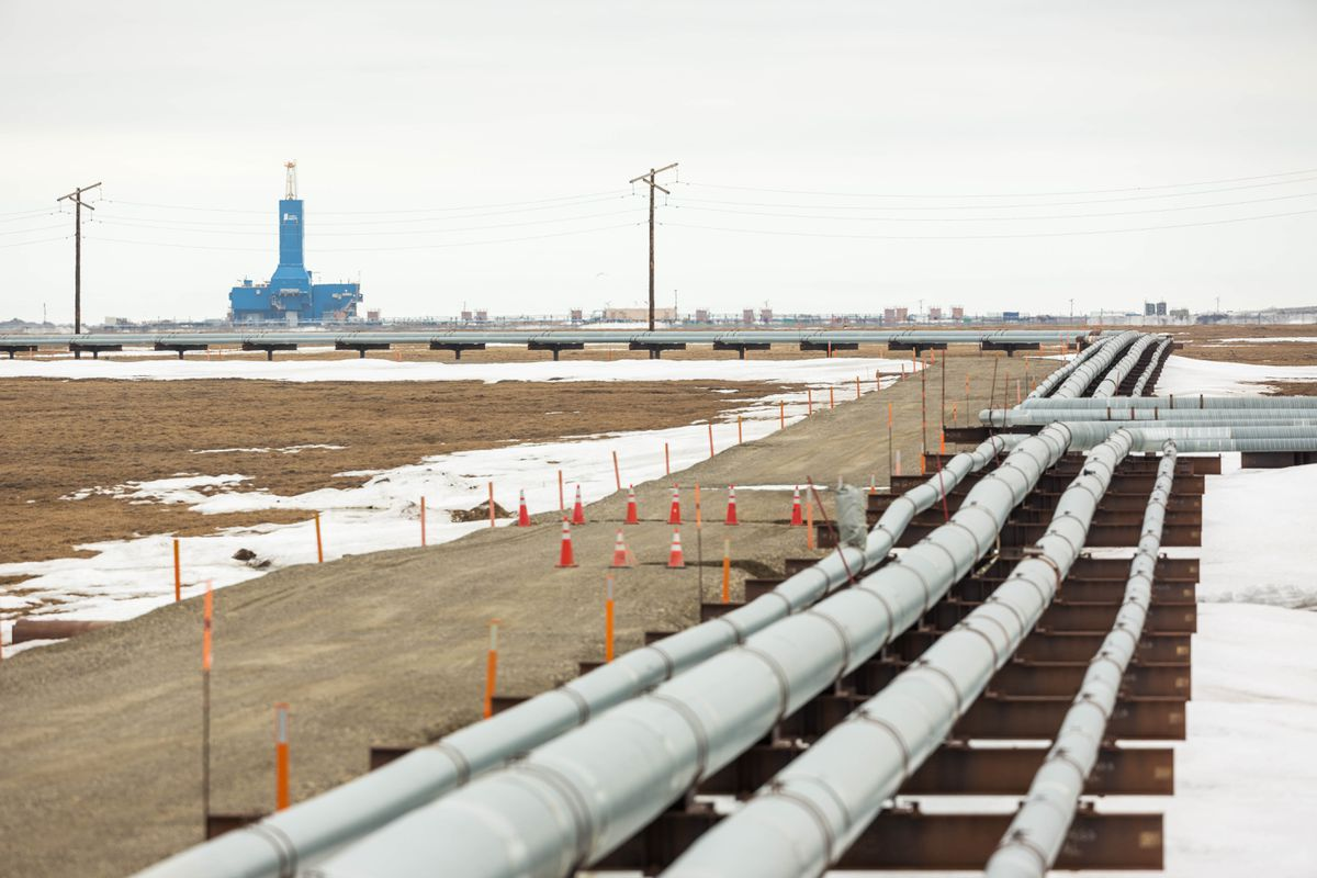 BP's Parker Rig 272, viewed from the Lisburne Production Center in Prudhoe Bay on Friday, May 22, 2015. (Loren Holmes / Alaska Dispatch News)