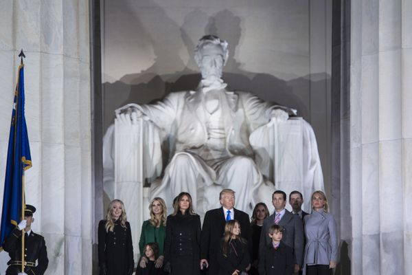 President-elect Trump and his family stand on the steps of the Lincoln Memorial as fireworks go off during a Make America Great Again thank you concert in Washington on Jan. 19, 2017. MUST CREDIT: Washington Post photo by Jabin Botsford.