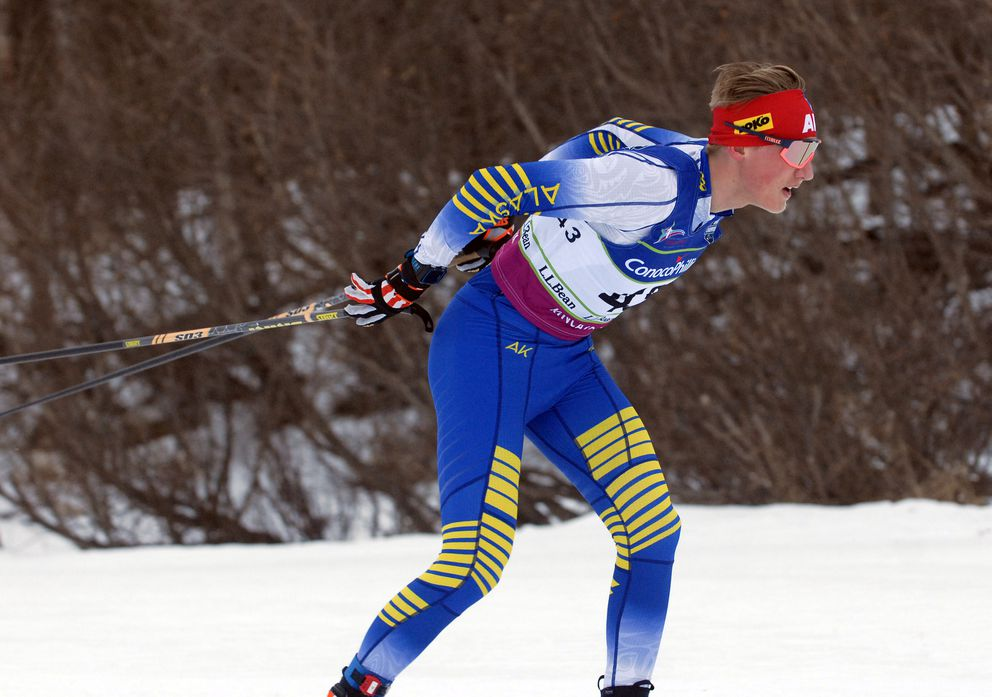 Gus Schumacher races to a gold medal at the U.S. Junior Nationals at Kincaid Park last month. (Matt Tunseth / ADN)
