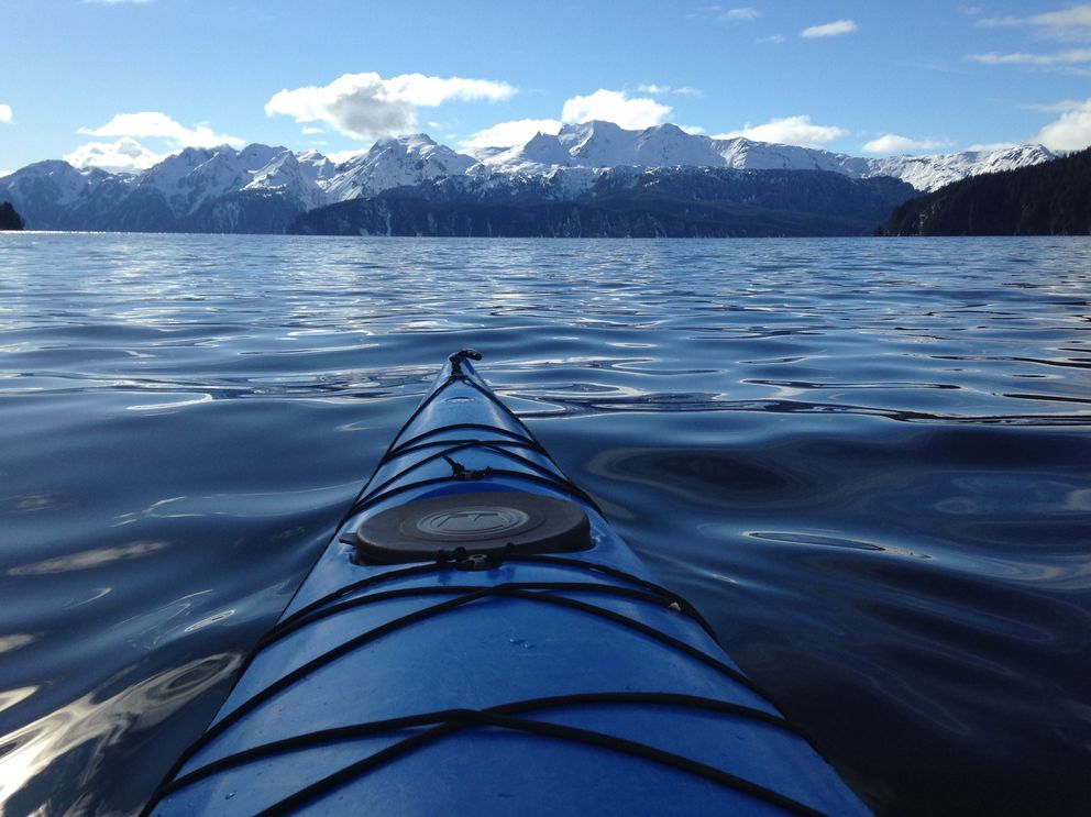 A lucky break: My first time kayaking was at Thumb Cove out of Resurrection Bay on March 29, 2017. (Vicky Ho / Alaska Dispatch News)
