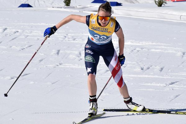 Sadie Maubet Bjornsen skis to 11th place in the women's 10-kilometer freestyle race at the World Championships in Oberstdorf, Germany, on Tuesday, March 1, 2021. (Photo courtesy U.S. Ski & Snowboard)