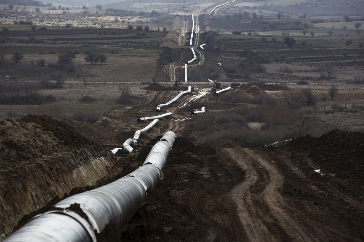 The Trans-Adriatic pipeline will carry Caspian Sea natural gas to Europe. (Bloomberg photo by Konstantinos Tsakalidis)