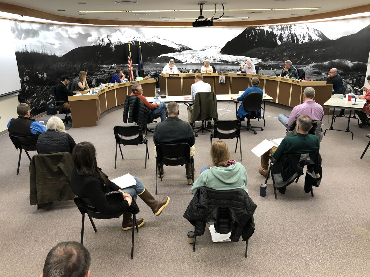 Members of the public demonstrate social distancing during a Sunday, March 22, 2020 meeting of the City and Borough of Juneau Assembly. (James Brooks / ADN)