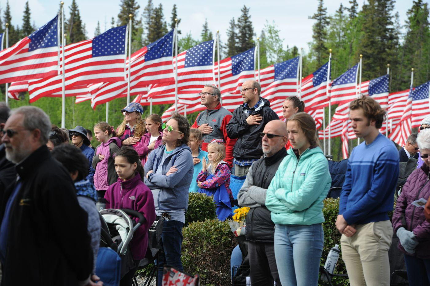 Dozens of people attended the Memorial Day ceremony at the Fort Richardson National Cemetery on Monday. (Bill Roth / ADN)