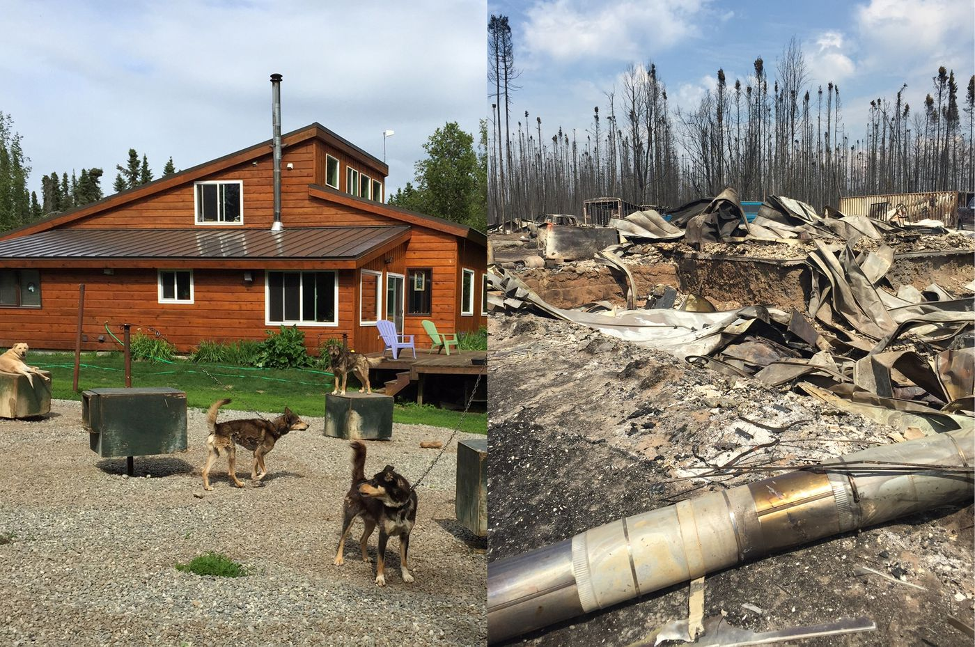 Two Jonrowe family photos show their property in Willow. The photo on the left was taken days before the home was destroyed in the Sockeye Fire in June 2015. The immediate aftermath is shown at right.