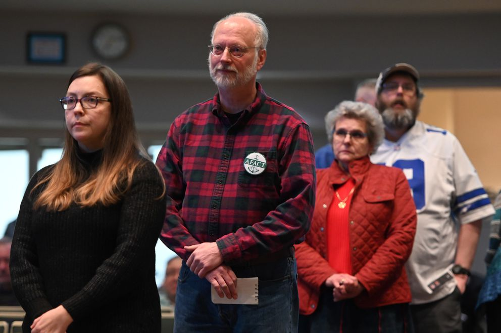 People wait in line to testify on proposed tax measures during an Anchorage Assembly meeting on Tuesday evening, Jan. 28, 2020. (Bill Roth / ADN)
