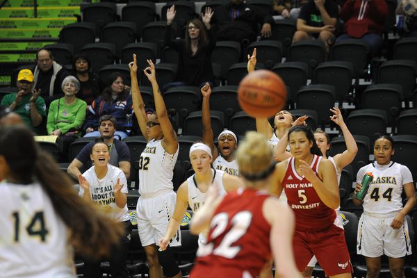 The UAA, women defeated Holy Names University 92-49 during the Seawolf Hoops Classic at the Alaska Airlines Center in Anchorage, Alaska on Friday, Nov. 17, 2017. (Bob Hallinen / ADN)