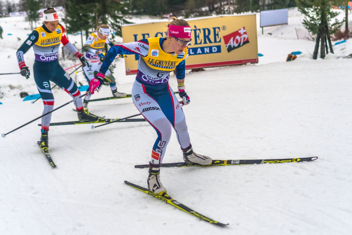 Sadie Bjornsen skis in the freestyle sprint heats Friday in Lillehammer, Norway. (Photo by George Forbes)