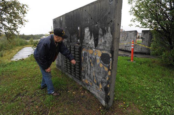 Vietnam veteran Chris Fowler visited the Veterans Wall of Honor near Mat-Su Regional Medical Center on Tuesday. (Bill Roth / ADN)