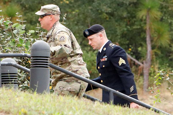 Sgt. Robert B. Bergdahl (R) arrives at the court house for a hearing in the case of United States vs. Bergdahl in Fort Bragg, North Carolina. REUTERS/Jonathan Drake
