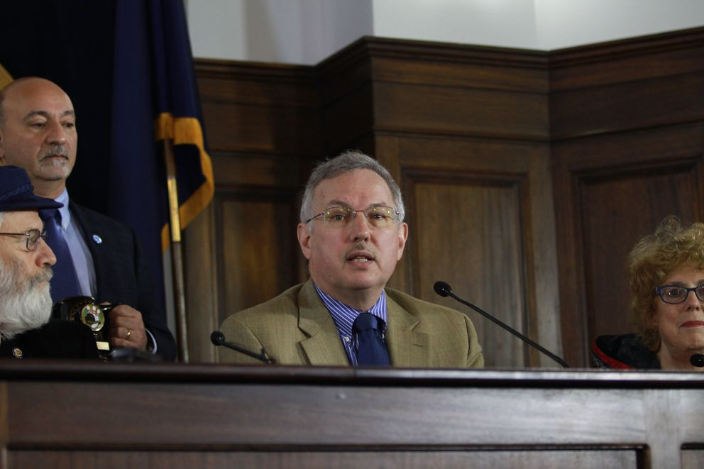 Alaska House Speaker Bryce Edgmon, D-Dillingham, appears at a news conference at the Capitol earlier this month. (Nathaniel Herz / Alaska Dispatch News)