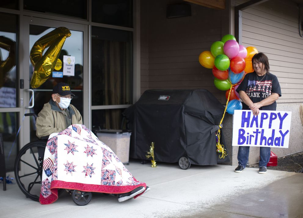 William Lapschies celebrates his 104th birthday at the Oregon Veterans' Home in Lebanon, Oregon, on April 1, 2020. (Beth Nakamura / The Oregonian)