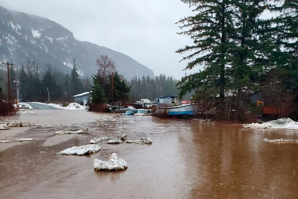 This photo provided by the Alaska Department of Transportation and Public Facilities shows damage from heavy rains and a mudslide 600 feet wide in Haines, Alaska, on Wednesday, Dec. 2, 2020. (Matt Boron/Alaska Department of Transportation and Public Facilities via AP)