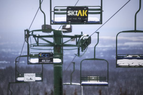 The chairlift at the top of Hilltop Ski Area remains turned off as staff groom the trails in preparation for opening day on Wednesday, Nov. 25, 2020. (Emily Mesner / ADN)