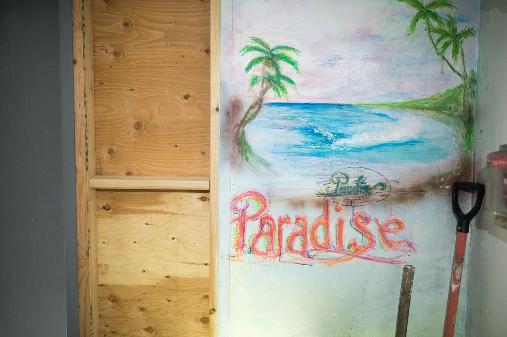 A drawing inside the former Paradise Inn on Spenard Road on Thursday, May 9, 2019. New owner Cindy Berger plans to have the building demolished to make room for a parking lot. (Loren Holmes / ADN)