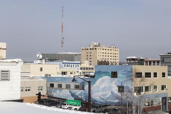A view of the Polaris Building from the roof of Old City Hall on the corner of Cushman Street and 5th Avenue on March 13, 2017, in downtown Fairbanks. (Rugile Kaladyte / Alaska Dispatch News)