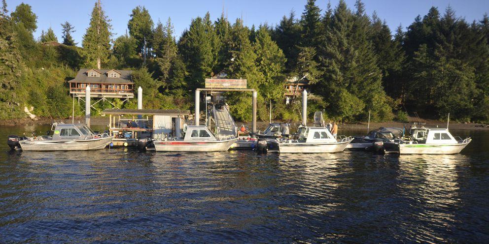 Fishing boats lined up at the Chinook Shores dock near Ketchikan. (Photo courtesy Chinook Shores)