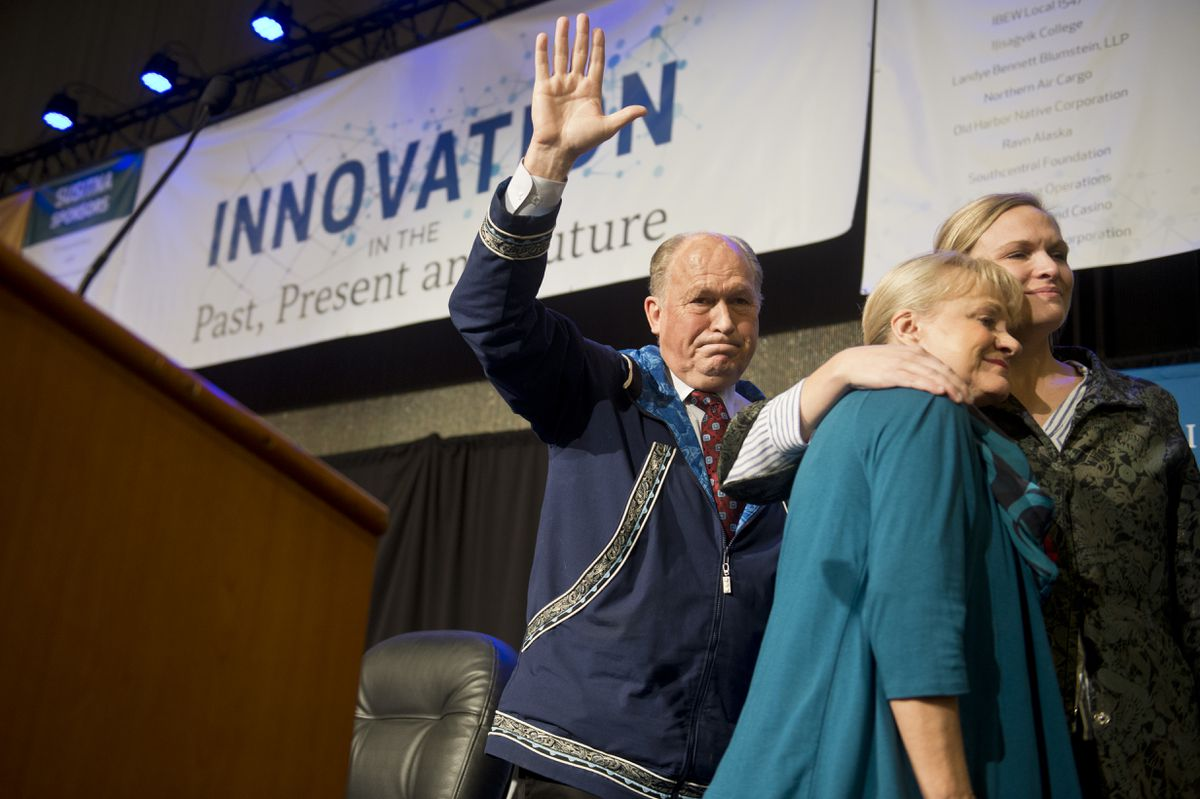 Gov. Bill Walker after announcing he was  suspending his campaign for election at the Alaska Federation of Natives annual convention on October 19, 2018. (Marc Lester / ADN)