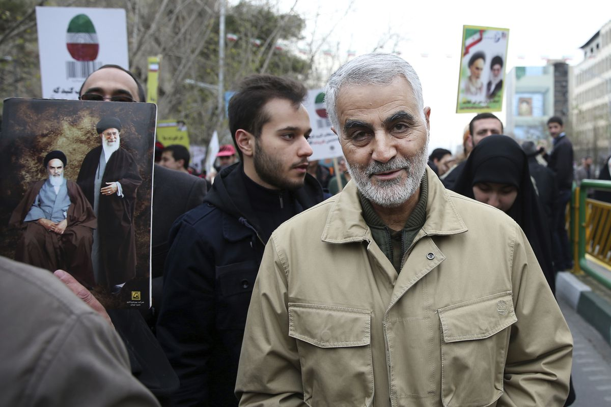 FILE - In this Thursday, Feb. 11, 2016, file photo, Qassem Soleimani, commander of Iran's Quds Force, attends an annual rally commemorating the anniversary of the 1979 Islamic revolution, in Tehran, Iran. Iraqi TV and three Iraqi officials said Friday, Jan. 3, 2020, that Gen. Qassem Soleimani, the head of Iran's elite Quds Force, has been killed in an airstrike at Baghdad's international airport. (AP Photo/Ebrahim Noroozi, File)