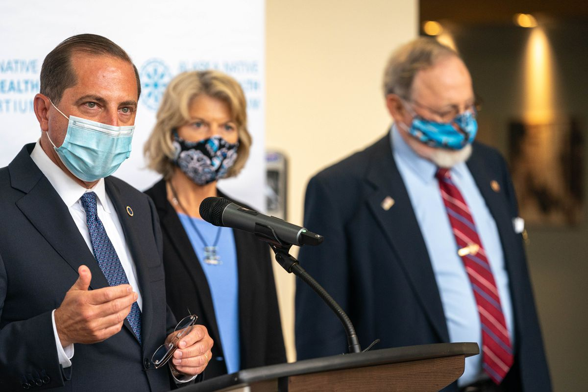 U.S. Health and Human Services Secretary Alex Azar speaks at a press conference on Wednesday, Aug. 12, 2020 at the Alaska Native Tribal Health Consortium in Anchorage. At right is Sen. Lisa Murkowski, R-Alaska, and Rep. Don Young, R-Alaska. (Loren Holmes / ADN)
