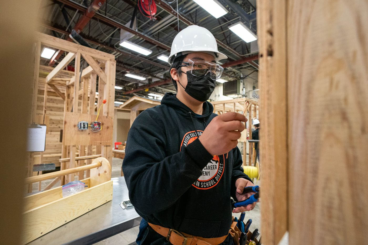 Kusilvak Career Academy student Jaye Chandler works on a wiring assignment at King Tech High School on April 2, 2021. Chandler is from Scammon Bay. (Loren Holmes / ADN)
