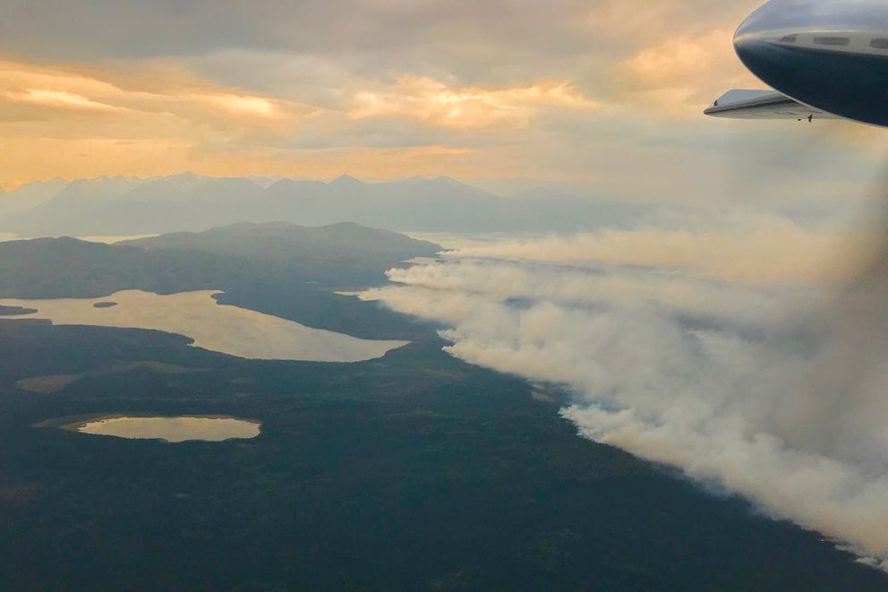 Swan Lake Fire, Aug. 26, 2019. (Jay Walter / Alaska Division of Forestry)