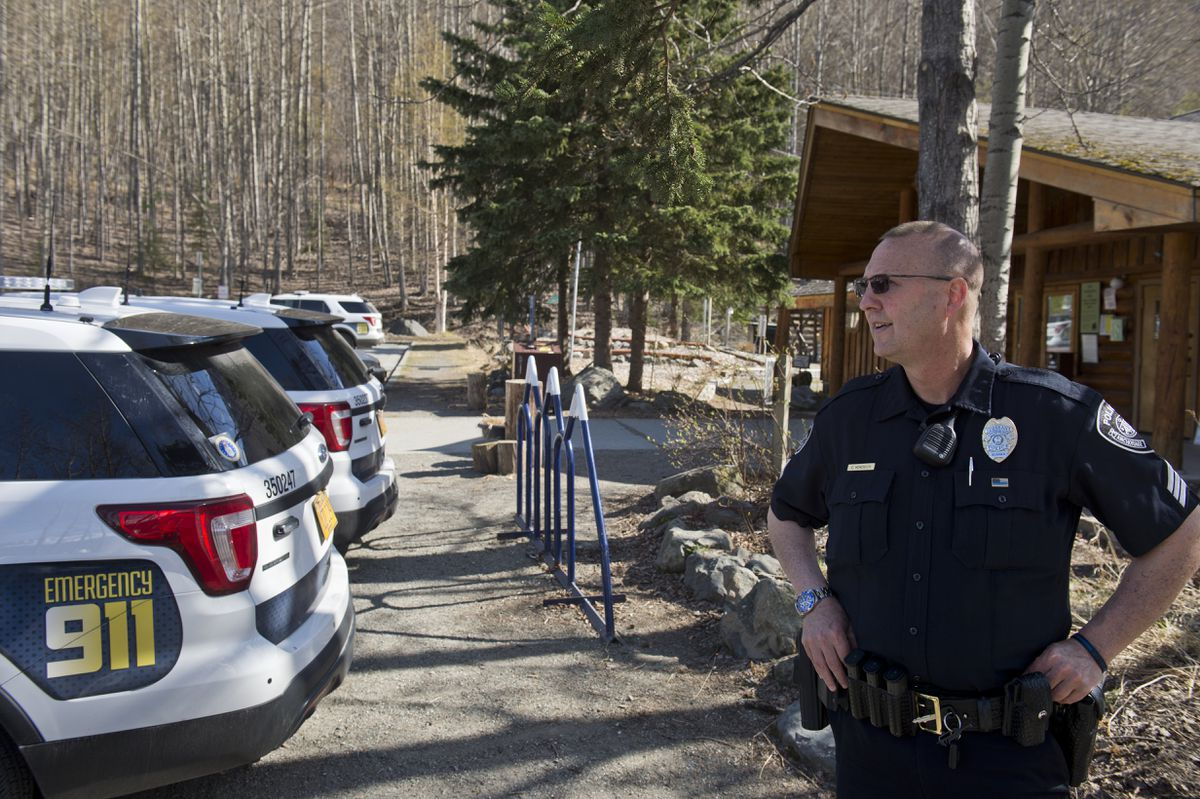 Anchorage Police Sgt. Cameron Hokenson said a search is underway for a hiker reported missing near the Eagle River Nature Center on May 1, 2019. (Marc Lester / ADN)