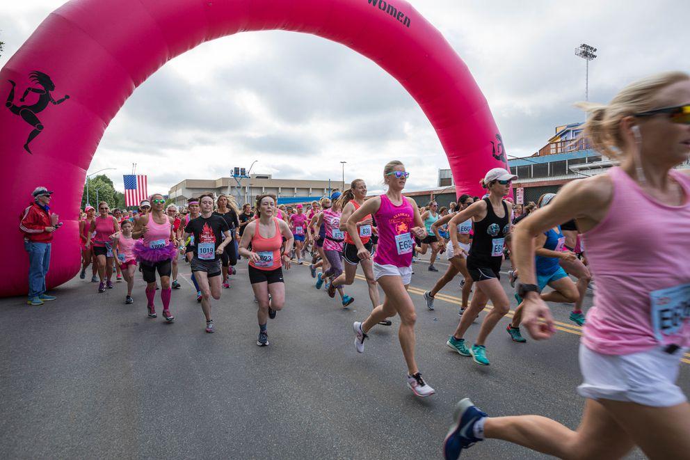 Runners take off from the start line of last year's Alaska Run For Women. (Loren Holmes / ADN)