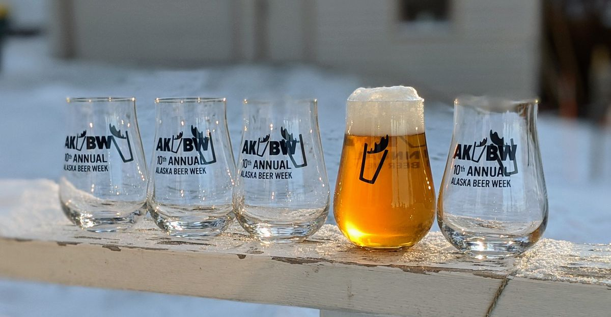 A lineup of promotional tumblers for AK Beer Week 2020.