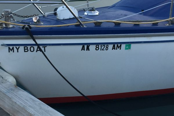 A sailboat in the Valdez harbor with a name that tells all. (Dermot Cole/Alaska Dispatch News)